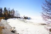 Donmuş gölün kıyısında — Stok fotoğraf