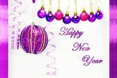 Tarjeta púrpura de año nuevo — Foto de Stock