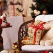 Gifts, fir-tree, tea, bear, smile — Stock Photo