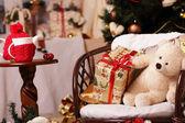 Gifts, fir-tree, tea, bear, smile — Stock Photo
