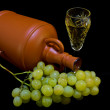 Crystal glass with white wine, bottle and bunch of white grapes on black cloth — Stock Photo #36196395