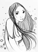Sketch - a girl with long hair — Stock Photo