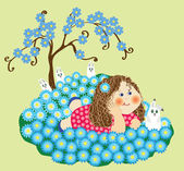 Girl on the a glade with flowers  — Stock Vector