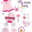 Baby girl set - Stock Vector