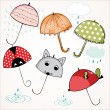 Stock Vector: Lovely umbrellas