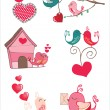 Stock Vector: Bird love