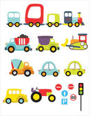 Lovely transport set — Stock Vector