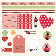 Ladybug lovely element set — Stock Vector