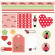 Ladybug lovely element set — Stock Vector #25839699