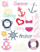 Summer set of stickers — Stock Vector
