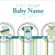 Stock Vector: Baby boy announcement card