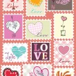 Love stamp set — Stockvectorbeeld