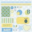 Baby boy scrapbook elements — Stock Vector