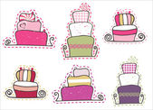 Sweet cake set — Stock Vector