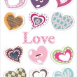 Stock Vector: Sticker heart set