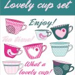 Lovely cup set — Stock Vector
