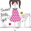 Sweet little girl — Stock Vector