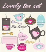 Lovely tea set — Stock Vector