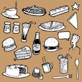 Cafeteria Food Elements — Stockvector