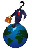 Globe Trotting Business Man — Stock Vector