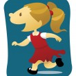 Royalty-Free Stock Vector Image: Happy Little Girl Running