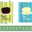 set of chocolate & vanilla birthday cakes with numbered candles — Stock Vector