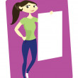 Royalty-Free Stock Vector Image: Young Woman Holding White Board