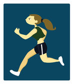 A Young Athletic Woman Running — Stock Vector