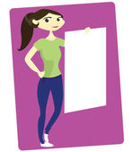 Young Woman Holding White Board — Stock Vector