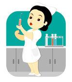 Nurse in the Lab — Stock Vector