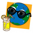 Planet Earth Drinking Lemonade — Stock Vector