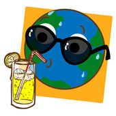 Planet Earth Drinking Lemonade — Stock Vector