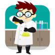 Stock Vector: Scientist in the Lab