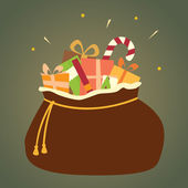 Santa's Bag of Christmas Gifts — Stock Vector