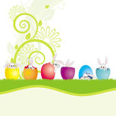 Funny easter bunny with eggs — Stock Vector