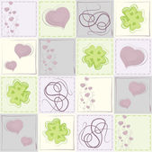 Endless pattern with hearts and cloverleaf — Stock Vector