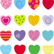 Set with 16 hearts — Stock Vector