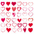 Set with 36 hearts — Stock Vector