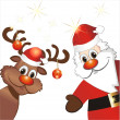 Funny reindeer and Santa Claus — Stock Vector