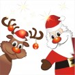Stock Vector: Funny reindeer and Santa Claus