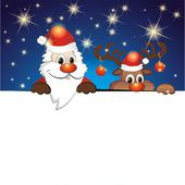 Funny reindeer and Santa Claus — Wektor stockowy