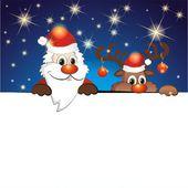 Funny reindeer and Santa Claus — Stockvektor