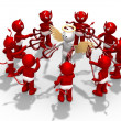 Angel surrounded by lots of devils — Stock Photo #23369990