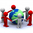 3 d stand around the planet earth and holding hands — Stock Photo