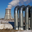 Stock Photo: Cooling tower and piping CHP