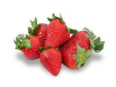 Several berries ripe strawberries isolated  — Stock Photo