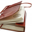 Foto Stock: Old leather book