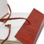 gammal läder bok — Stockfoto