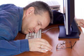 Tired computer guy — Stock Photo
