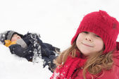 Kids in the snow — Stock Photo